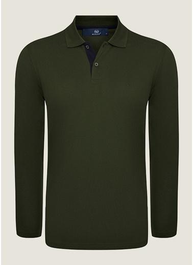 Bisse SW18K18202 Regular Fit Dokulu Polo Yaka Sweatshirt Yeşil